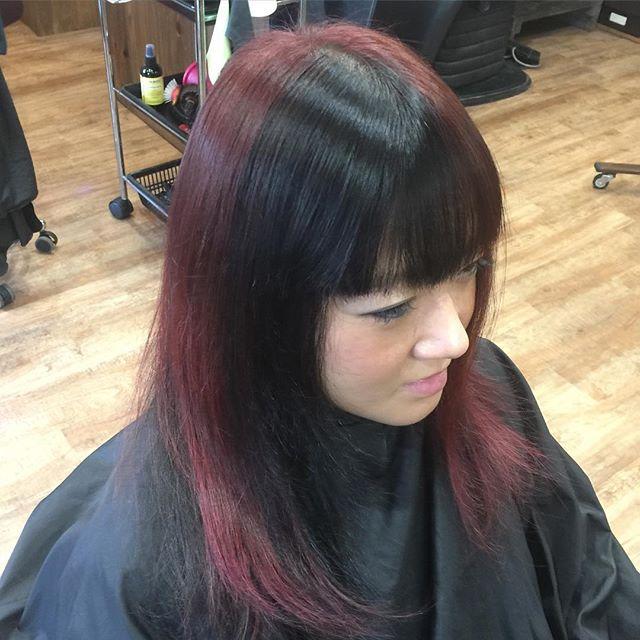 Black & Wine red !!#hairstyle#haircolor#chicago_hair_studio#haircut#hairset#豊橋#豊橋美容院#美容師#散髪#床屋#barber#シカゴスタイル#chicagohairstudio#ヘアカラー#ヘアカット